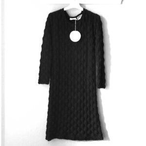 Black textured sweater dress